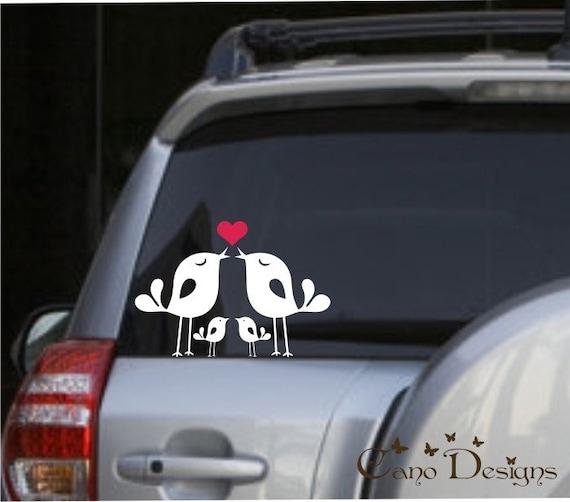 Lovely Bird Family, Car Vinyl decals stickers, window decals stickers