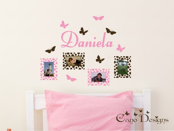 Personalized Name with Photo Frames and Butterflies, nursery, kids & teens room, custom removable decals stickers