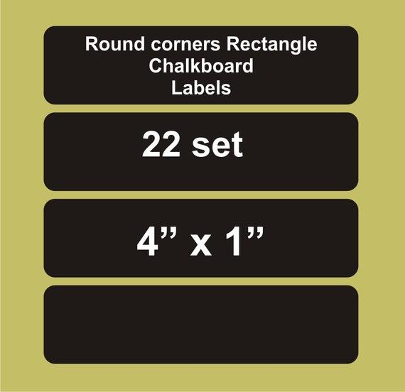 "Rectangle chalkboard labels 22 set, 4"" x 1"", round corners Rectangle chalkboard labels. blackboard labels, personalized labels"