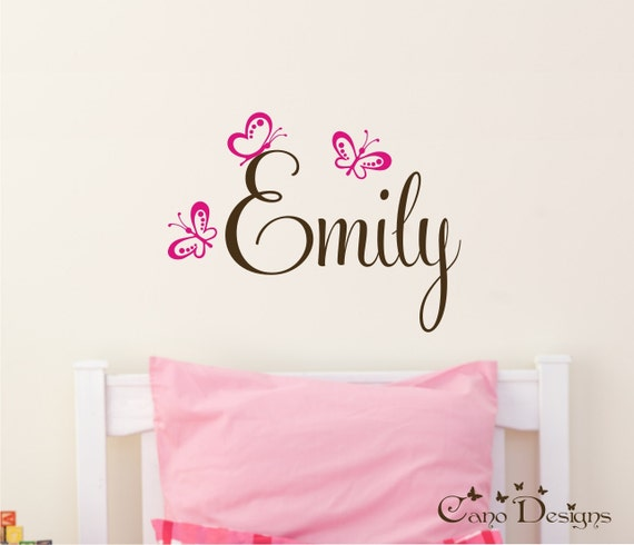 Personalized Name With Butterflies, Custom Vinyl wall decals stickers, nursery, kids & teens