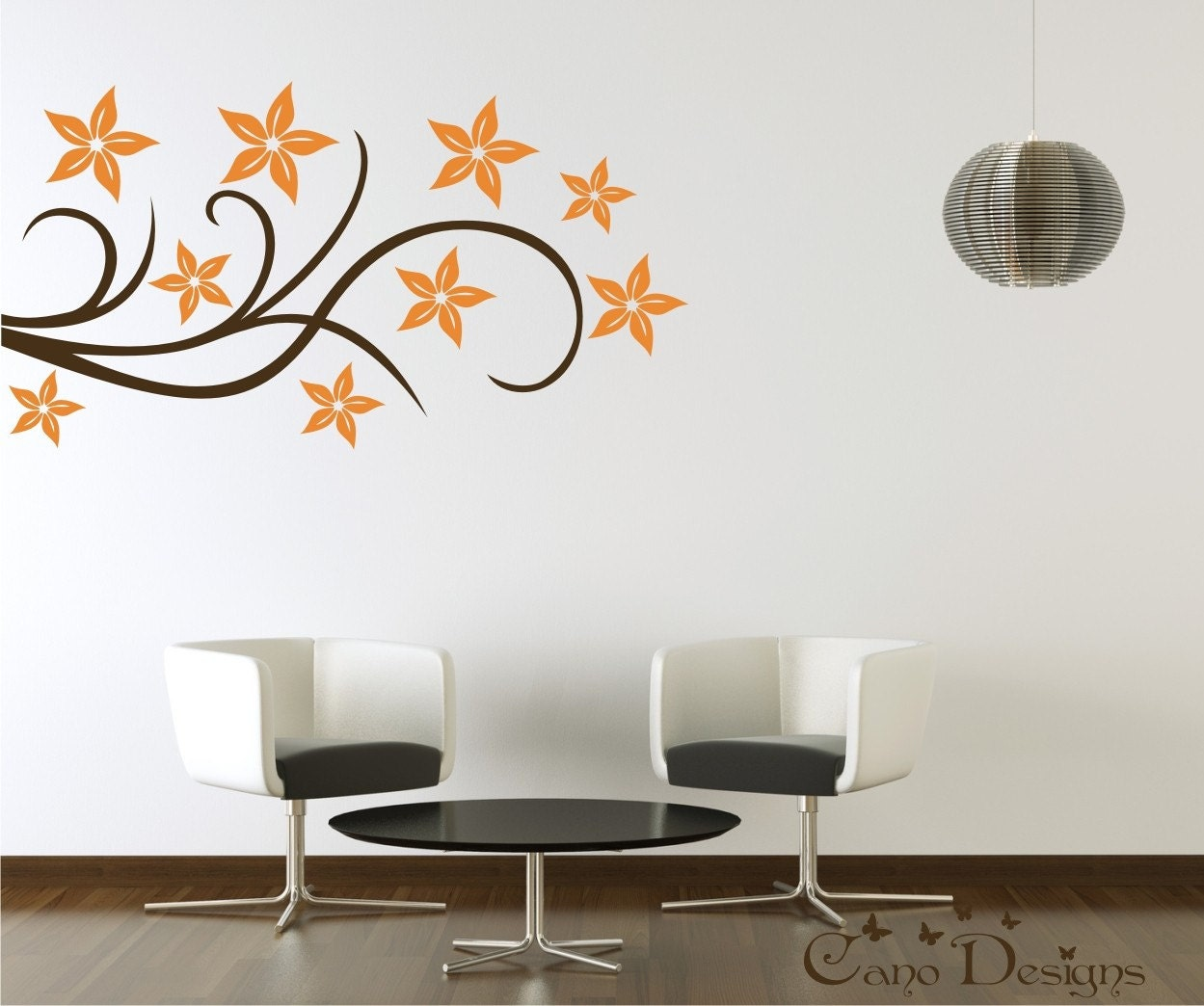 Floral design vinyl decal wall decals stickers removable for Design wall mural