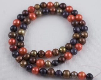6mm Rusty Fall Colors Freshwater Pearls - Potato Round - 15 Inch Strand - 64 Beads