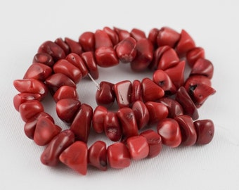 8x14mm Apple Red Fringe Coral Nugget Chips - 15 inch strand - 56 pieces