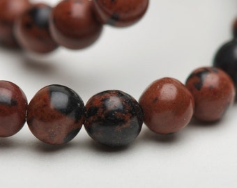 4mm Earthy Brown Black Mahogany Obsidian Round Druk Spacer Beads - 15 inch strand - 95 pieces
