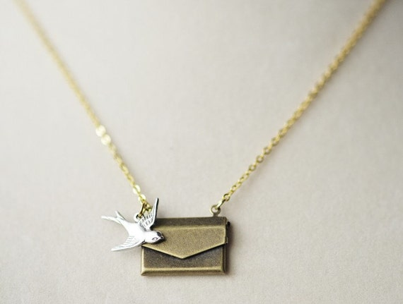 Vintage Brass Envelope Silver Sparrow Necklace