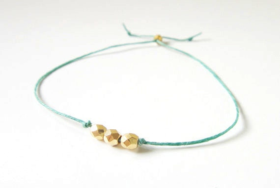 Three Gold Beads on Green Irish Linen Friendship Bracelet - gift ideas, best friend gift, birthday gift, woman gift, gift for her, under 15