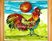 Polish Rooster - 5,5 x 5,5 original painting on Glass