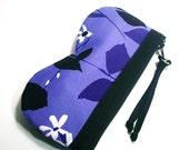 Eyeglasses Case in Purple Falling Leaves - Pouch Style