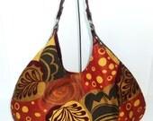 Autumn Leaves Hobo,  Shoulder Bag, Tote Fall Foliage, Burgundy Hobo Handbag