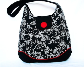 Hobo in Black and White Floral with Red  Accent Button ,  Red Piping