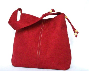 Red Hobo, Red Shoulder Bag, Red Linen Hobo, Top Stitch, Logo Button, Bead Detail