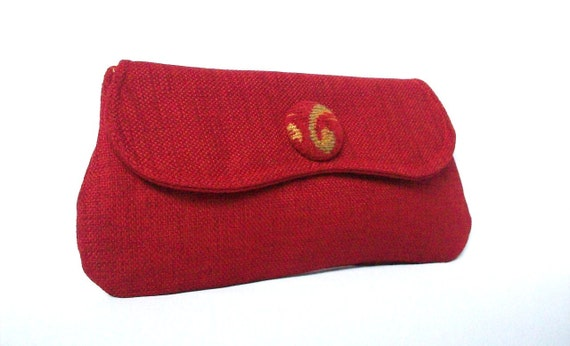 Red Linen Clutch. Red Clutch Purse with Vintage Button Detail - Pouch Style