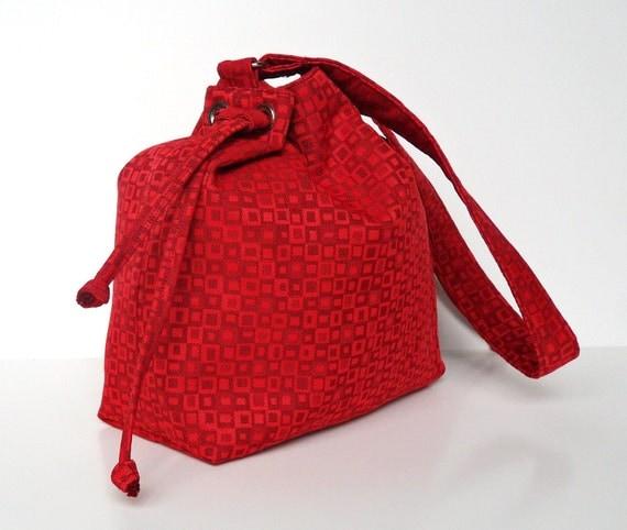 Red Squares Drawstring Bucket Bag