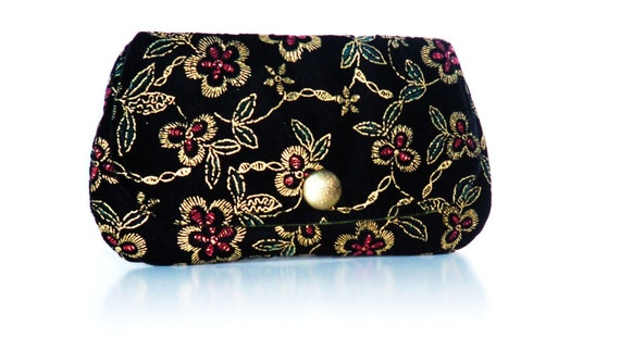 Bridesmaid Clutches. Bridesmaid Gift. Black Embroidered Clutches. Purse. Evening Bag. Formal.Wedding