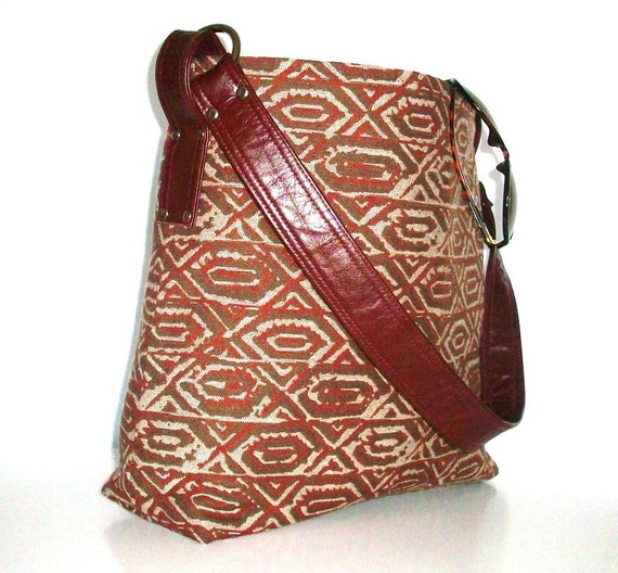 Burgundy Tapestry Bag, Leather Trim, Tote Bag, Hobo, Shoulder Bag
