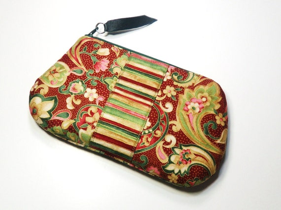 Paisley Floral Zippered Purse, Gadget Holder, Leather Pull