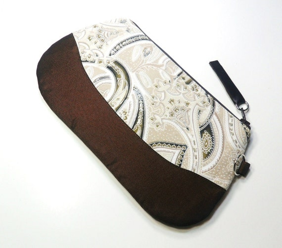 Zipper Pouch Purse Brown Paisley Cotton - Leather Pull
