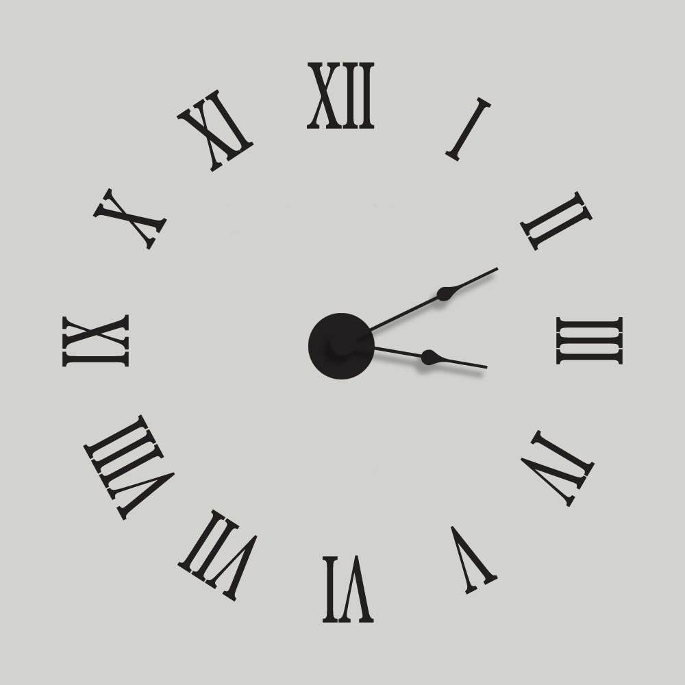 Wall Clock Decal Kit Vinyl Wall Clock Roman Numeral By