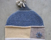 Elf style hat in blue,yellow and tan