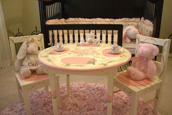 children 39 s tea table and chair set hand painted the. Black Bedroom Furniture Sets. Home Design Ideas