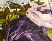 Vintage Fabric Polished Cotton Cabbage Roses Purple Pink Tawny Beige Cottage Remnant Pieces