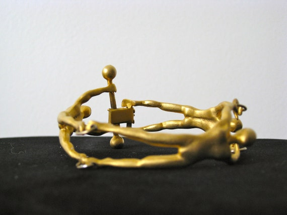Incredible 1980s IRAFA Gold People Bracelet