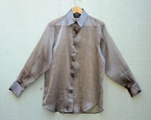 Vintage Sheer Shimmery Pewter Oversized Button Down Blouse Womans S M L