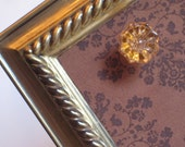 Framed Magnet Board, Photo Memory Board -Brass Vintage Frame,chocolate brown damask fabric, 10 x 12  inches.