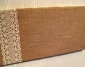 College Dorm, Country Chic Burlap and Lace Bulletin Board, Wedding Memo Board, tack board, 8 x 16 inches