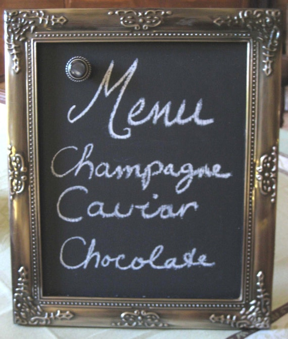 Magnetic chalkboard frame, magnet frame, photo display, silver, 10 x 12 inches