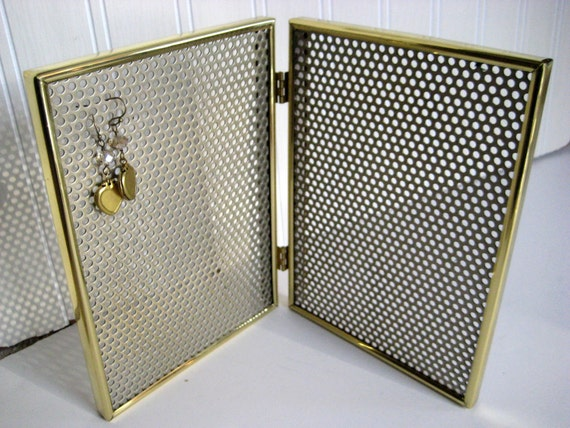 Double Earring Display frame,hinged magnetic brass frame, organizer, 2 of  5 x 7 inches