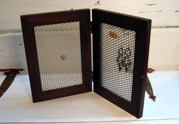 Double Earring Display frame, hinged magnetic wood frame jewelry organizer, 2 of 5.5 x 7.5 inches