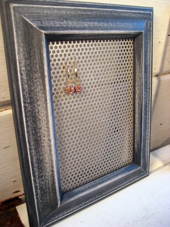 Earring Organizer in a sanded denim blue distressed resin Frame, holds earrings and jewelry