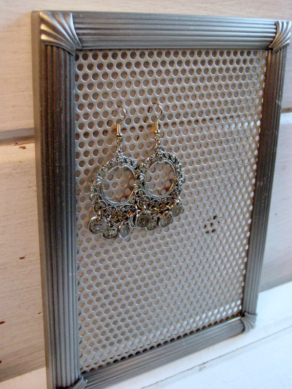 Earring Holder, Silver Art Deco styled vintage Earring Display frame, magnetic, Jewelry organizer, 5 x 7 inches