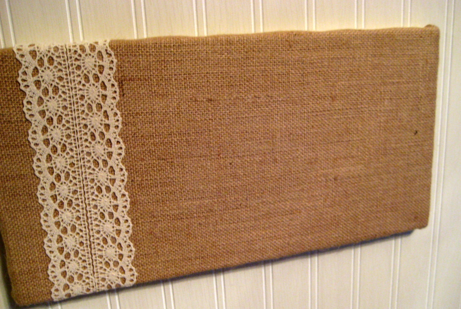 College dorm country chic burlap and lace bulletin board for Burlap and lace bedroom