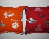 CLEMSON Tigers versus USC GAMECOCKS Cornhole Corn Toss Bean Bag Baggo Bags Set of 8