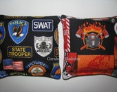Law Enforcement versus FireFighter Cornhole Corn Toss Bean Bag Baggo Bags Set of 8