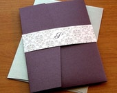Elegant Pocket Wedding Invitation Sample Set - Shimmery Eggplant and Silver Damask Pocketfold