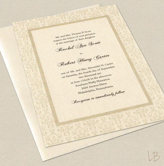 Samples Of Wedding Invites: Items Similar To Formal Wedding Invitation Sample Set