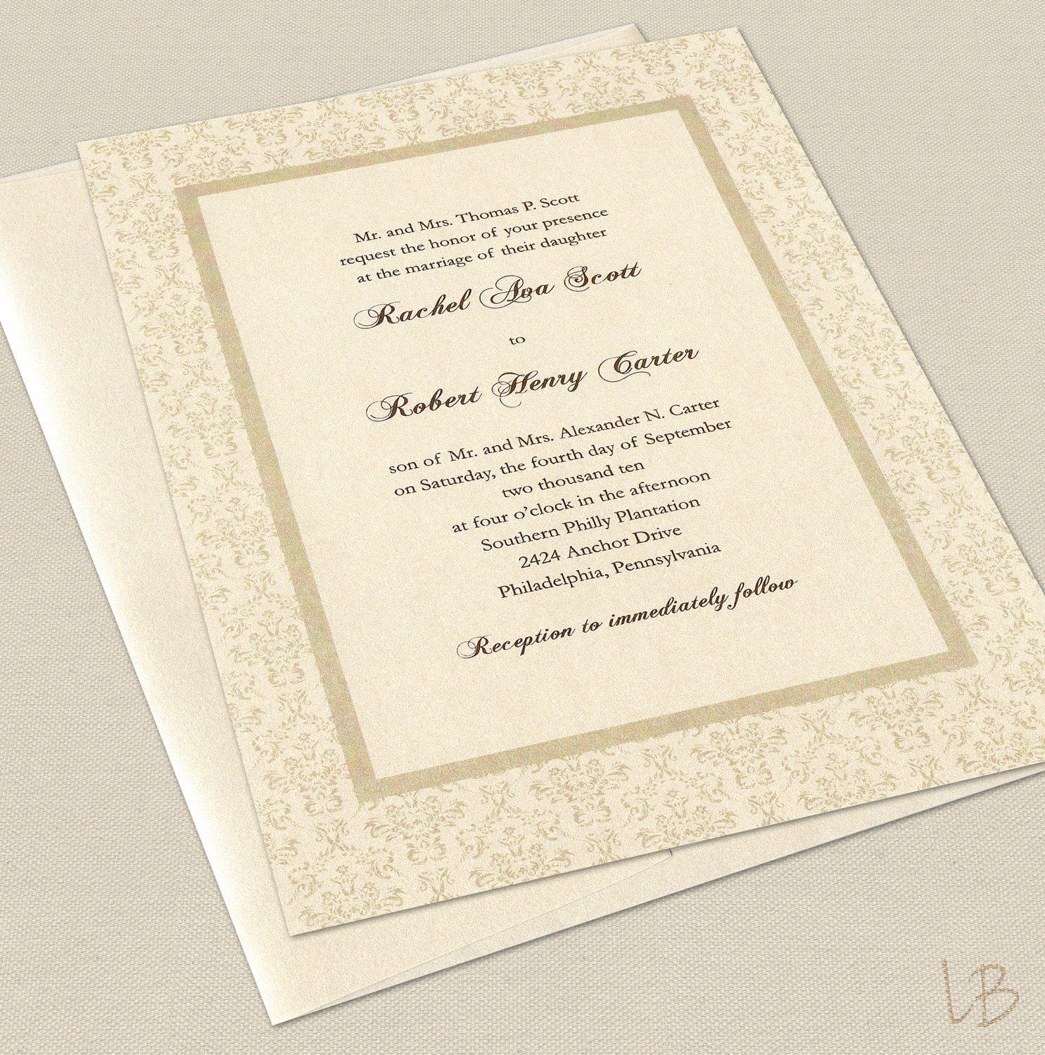 Samples Of Wedding Invites: Formal Wedding Invitation Sample Set By LBcreativepaper On