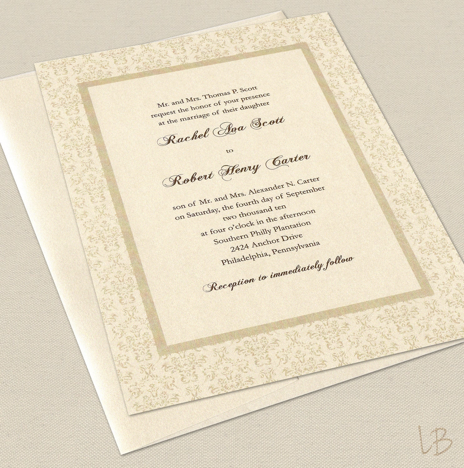 Sample Invitations For Wedding: Formal Wedding Invitation Sample Set By LBcreativepaper On