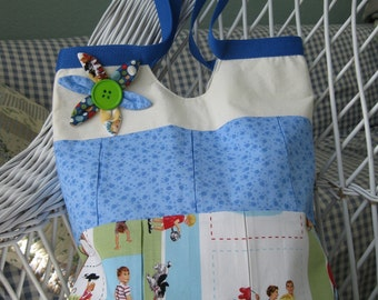 Dick and Jane tote beach diaper summer fun carryall blue white