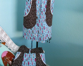 Mommy and Me Apron Set, women, girls, blue and brown, ice cream, dots, pockets, full coverage