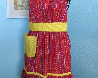 Red and Yellow Women's Apron, ruffles, pocket, full coverage, teens,