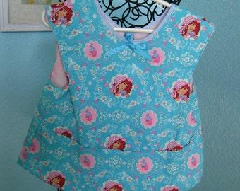 Strawberry Shortcake Smock, apron, girls, toddlers, aqua, blue pink, reversible, pockets