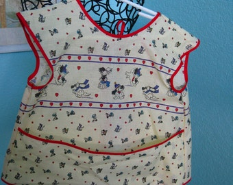 Child's Smock-Coverup apron, red and yellow, puppies, dogs, pockets