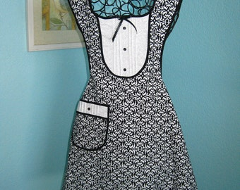 Black and White Tuxedo Style Hostess Apron, tucked bib, buttons and bows, women, teens