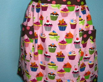 Vintage Style Cupcake Apron, pink and brown, scallops, lined,polka dots