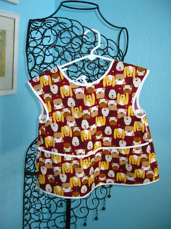 Child's Apron-Coverup, toddlers, brown, dogs, puppies, pockets, smock