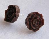 Poppy Earring Studs-Brown